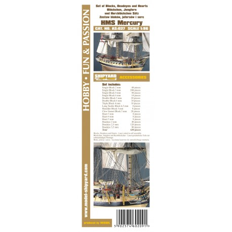 AS:027 Set of Blocks Deadeyes and hearts HMS Mercury