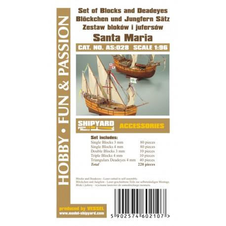 AS:028 Set of Blocks Deadeyes and hearts Santa Maria