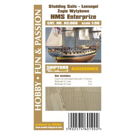 AS:008 HMS Enterprize - studding sails