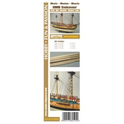 AS:012 Masten mit Lasercut Detailsatz HM Bark Endeavour