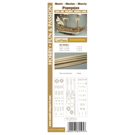 AS:013 Accesories for making Masts and Yards Papegojan